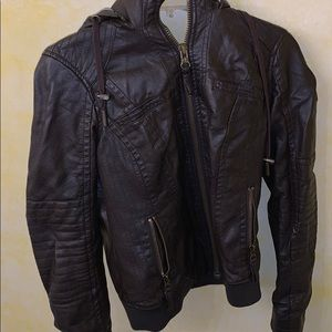 Leather Bomber Jacket with hood.